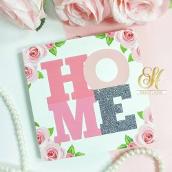 Square MDF Walldecor - HOME Flower Pink Grey