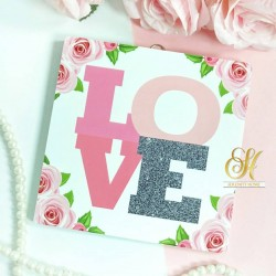 Square MDF Walldecor - LOVE Flower Pink Grey