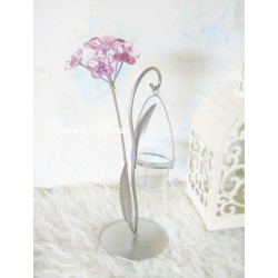 Grey Pink Flower Branch Candle Holder